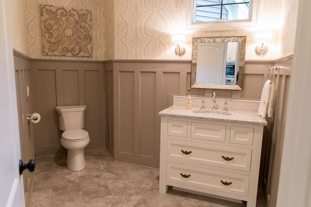 Real Fit Housewife: Welcome to my Home: Our Little Slice of Heaven  Half bath, vanity, wall paper, gray