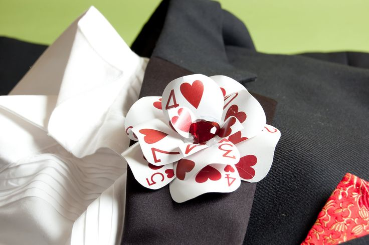 """Off with her head!"" the Queen of Hearts cried, but it was only because she wanted Alice's beautiful Queen of Hearts Poker Card Boutonniere! Handcrafted from vintage, punched casino poker-cards, with"