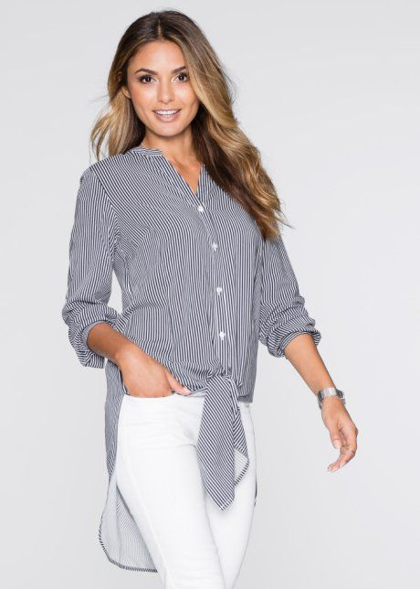 Длинная блузка в полоску, BODYFLIRT, цвет белой шерсти/темно-синий в полоску