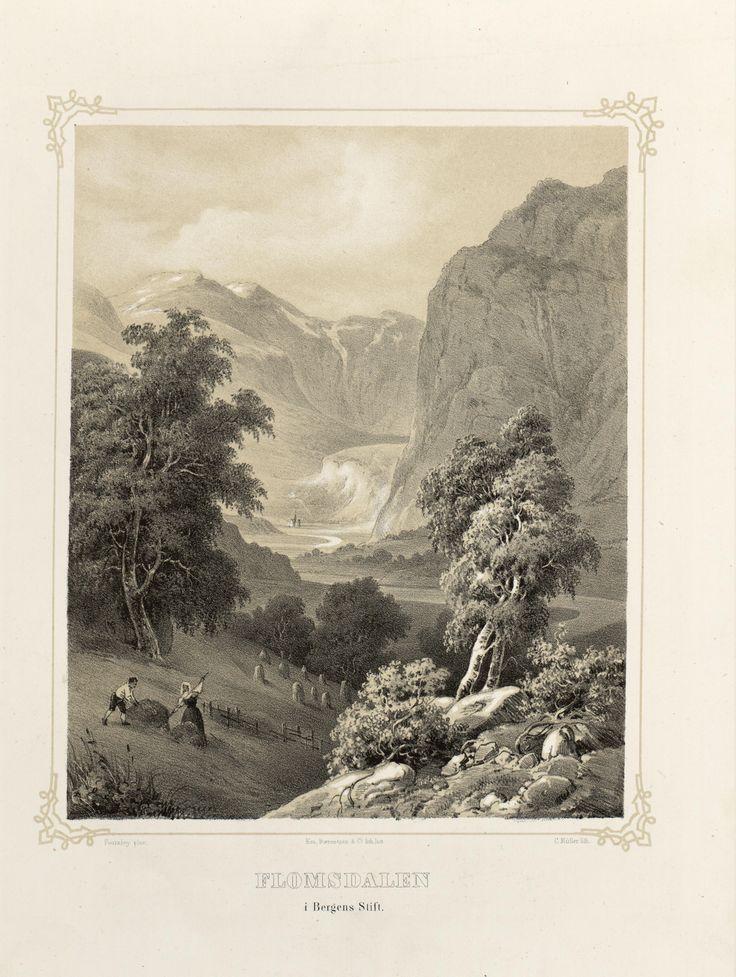 Norge fremstillet i Tegninger - Thomas Fearnley - Flomsdalen i Bergens Stift. jpg (3688×4896)
