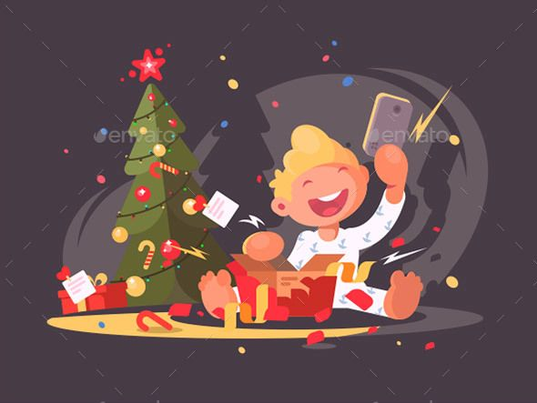 Child Opens Christmas Present - Vector illustration EPS, AI