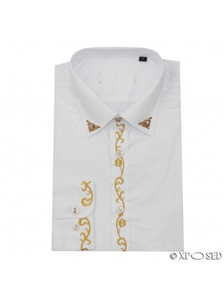Mens White Vintage Wedding Party Dress Gold Embroidery Formal Smart Collar Shirt
