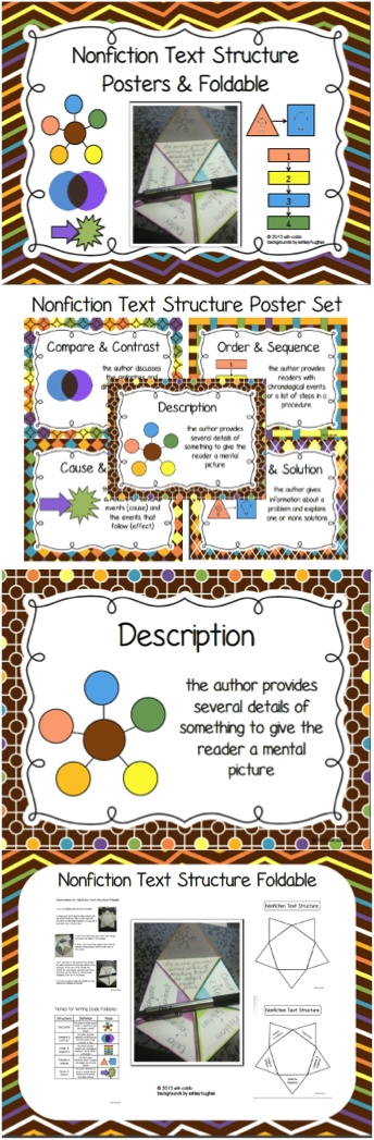 Five posters for nonfiction text structures: Description, Problem and Solution, Cause and Effect, Order and Sequence, Compare and Contrast. It also contains a foldable (both labeled and blank) with instructions and notes for writing in foldables. The notes are consistent with the information given on the posters.