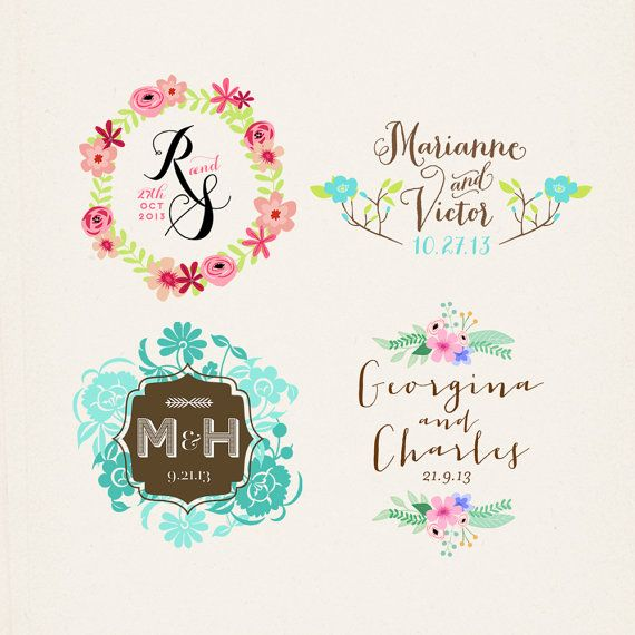 Wedding Monogram, Custom Wedding Logo, Printable Monogram, Digital Wedding Monogram