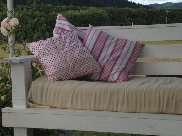 Spot and stripe cushions on my outdoor sofa