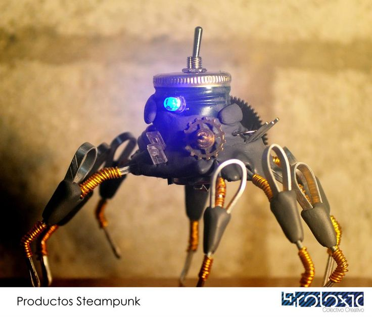 Steampunk Spider created with recycled material.