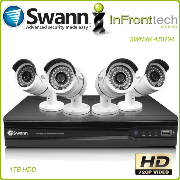 Buy Now Online the Swann HD720P 4 Channel CCTV Kit with 4 Cameras.  We Ship Fast to all Parts of Australia – Express Paypal Checkout Available.