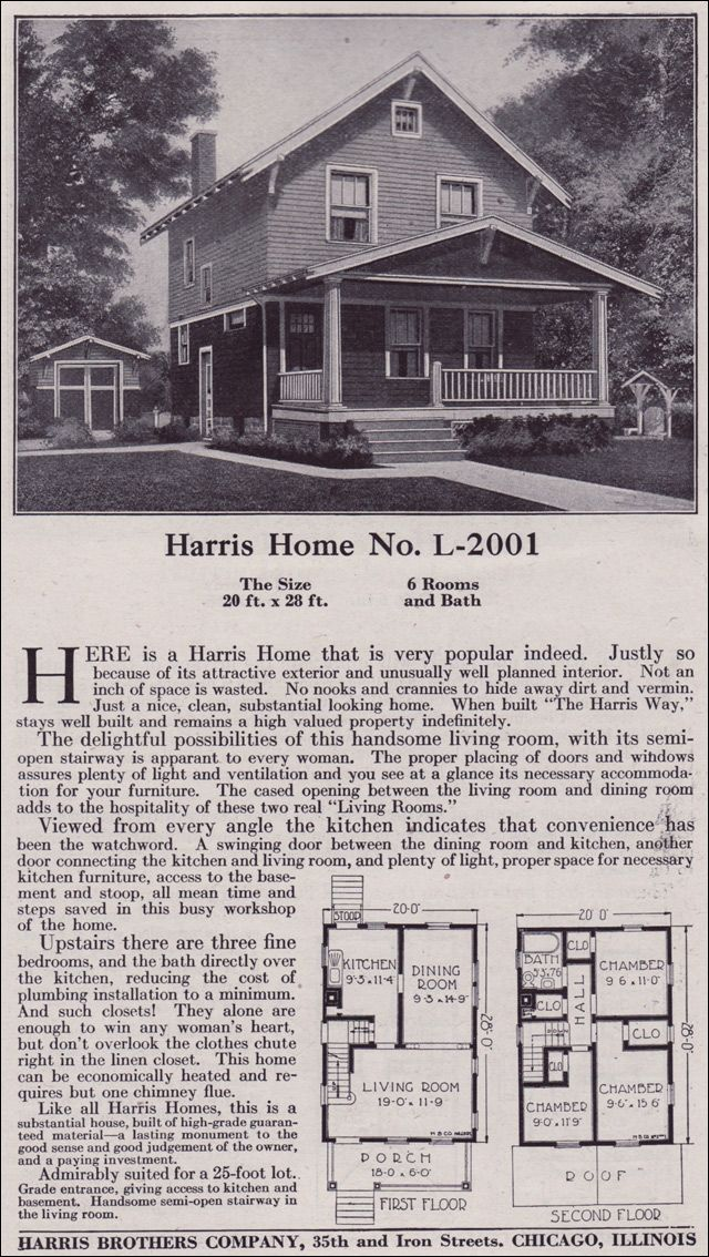 Plan L 2001 1918 Harris Bros Co Kit Houses Two Story