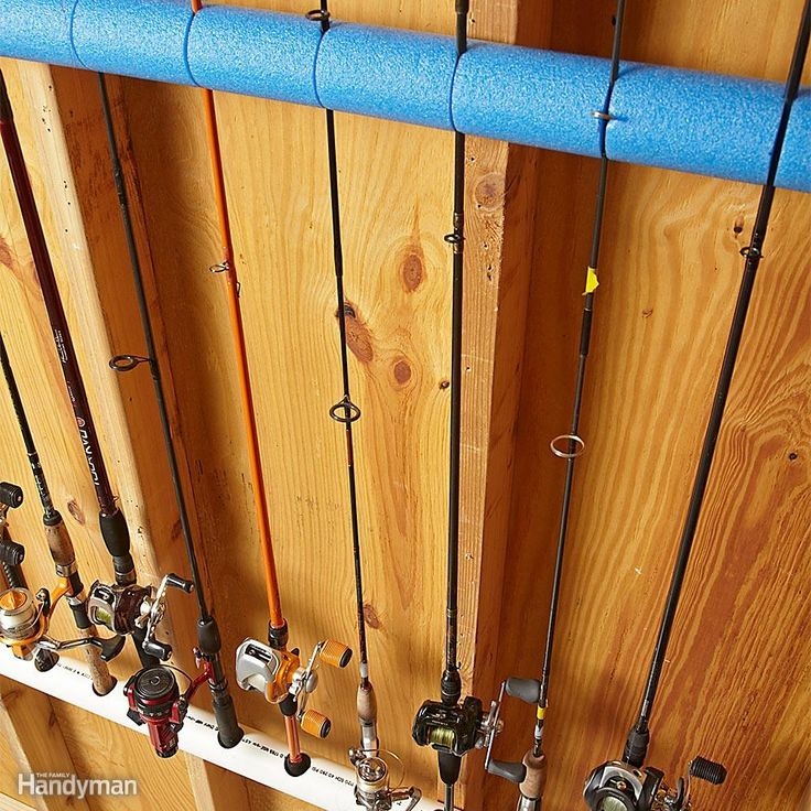 We got sick and tired of our fishing rods getting tangled, so we came up with this easy fishing rod organizer. All you need is a length of 3-in.-diameter PVC pipe and a foam swimming pool noodle. Drill 1-in. holes spaced every 4 in. in the PVC pipe. Use a utility knife to cut slits in the foam noodle, spacing them 4 in. apart. Line up the pool noodle on the wall so that at least two of the slits sit over studs. Pull those slits apart, slide in a fender washer, and screw the noodle to the…
