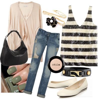 black white & peachFashion, Inspiration, Black White, Polyvore, Peaches