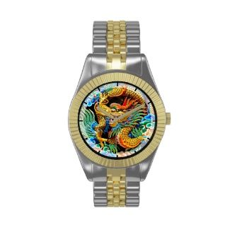NEW! - Cool chinese colourful dragon lotus flower art Wrist Watch