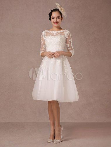 Brautkleid Kurz Vintage Spitze lange Ärmel a-Linie Tüll Hochzeitskleid mit Blumen