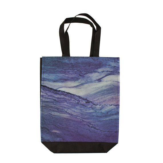 Shopping Tote Bag Marble Purple  Storage Travel Gym Beach Reusable by DesignsBySiena Etsy
