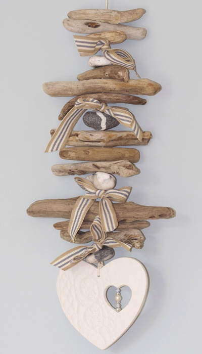 Driftwood garland heart with inset beads by Driftwood Dreaming