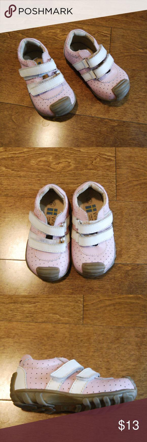 Vincent Pink/White Soccer Style Leather Shoes These imported Swedish shoe designed in soccer style have white Velcro straps and ready for play.  They have normal wear, and are in good condition.   They are size EU 20 Toddler which is the same as size US 5 Toddler. Vincent Shoes Sneakers