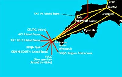 The Cable & Wireless internet backbone in Cornwall and the connections to submarine fiber-optic cables