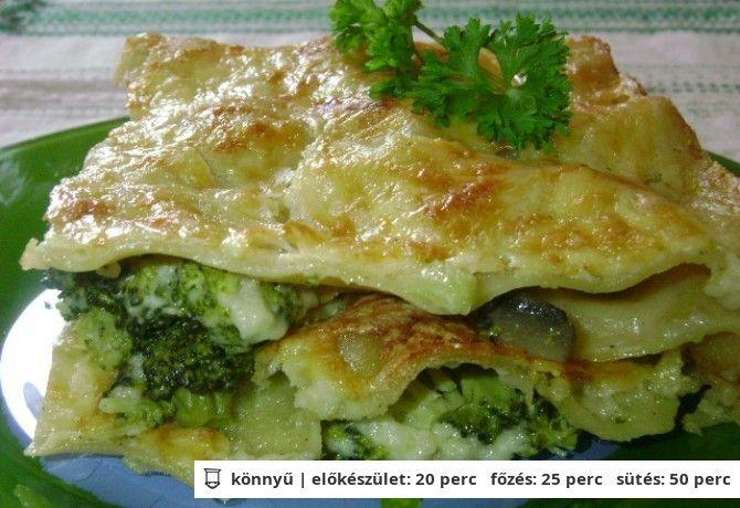 Brokkolis-gombás lasagne recept