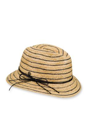 Karen Kane Women's Stripe Fedora Hat - White - One Size