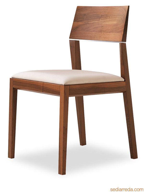 Tendence | Sedia moderna in legno e pelle di Tonon