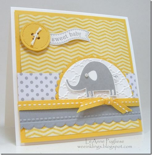 LeAnne Pugliese WeeInklings DS111 Nursery Necessities and Itty Bitty Banners stamp sets Baby Card Stampin Up