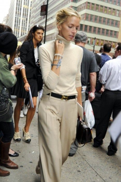 Off white turtleneck, tan wide leg pants, camel belt/rl stirrup belt