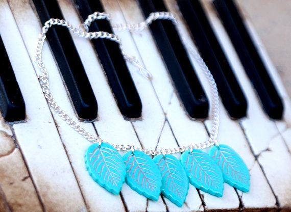 Leaf statement necklace from polymer clay blue by zhabkadesigns
