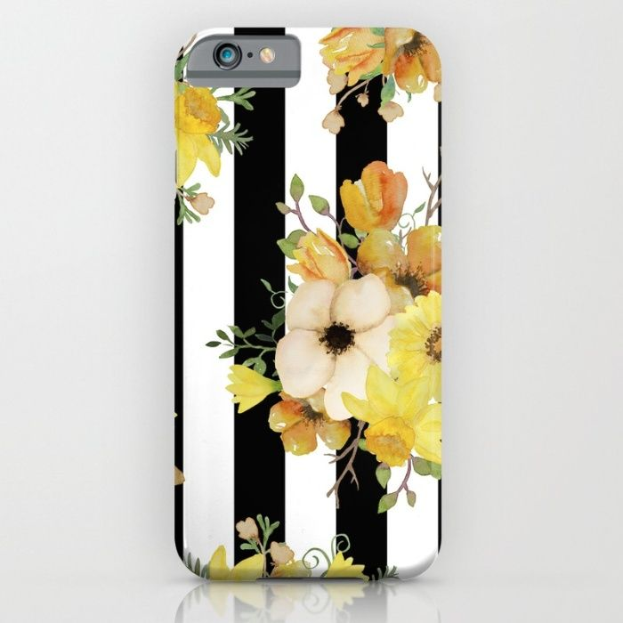 Yellow Vintage Floral on Black Stripes iPhone & iPod Case by The Willow Wood Studio   Society6