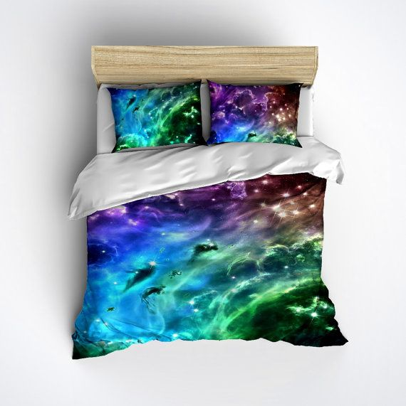 Fleece Galaxy Bedding - Cosmos Duvet Cover & Pillow Cases, Outer Space Comforter Cover, Stary Night Bed Set - Nebula