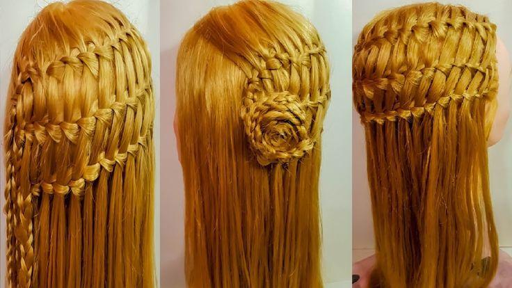 Плетение прическа водопад тройной французский оригинальная коса цветок а...