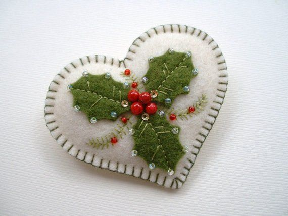 Felt Holly Heart Pin by Beedeebabee on Etsy, $20.00