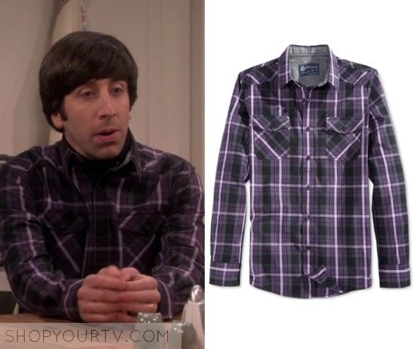 "The Big Bang Theory: Season 10 Episode 20 Howards Purple Plaid Shirt | Howard Wolowitz (Simon Helberg) wears this purple button down long sleeved plaid shirt in this episode of The Big Bang Theory, ""The Recollection Dissipation"".  It is the American Rag Entrekin Plaid Shirt."