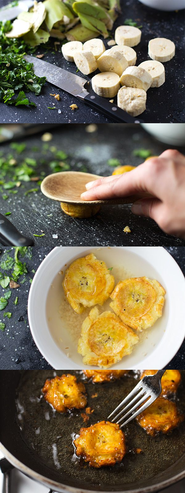 Garlic Tostones: Puerto Rican Fried Plantains that are perfect with rice and beans. Just a few simple steps! | pinchofyum.com
