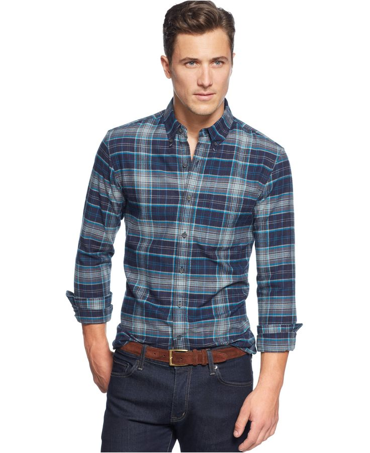 Club room slim fit plaid flannel shirt men macy 39 s my for Mens slim fit flannel shirt