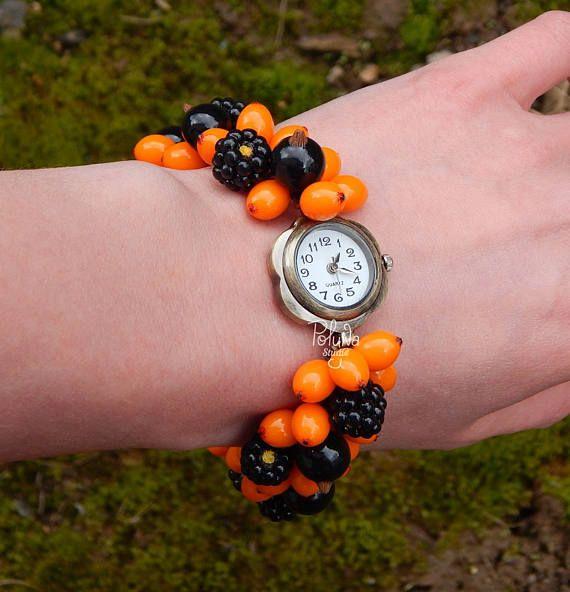 Cute autumn charm watch  handmade forest berry watch