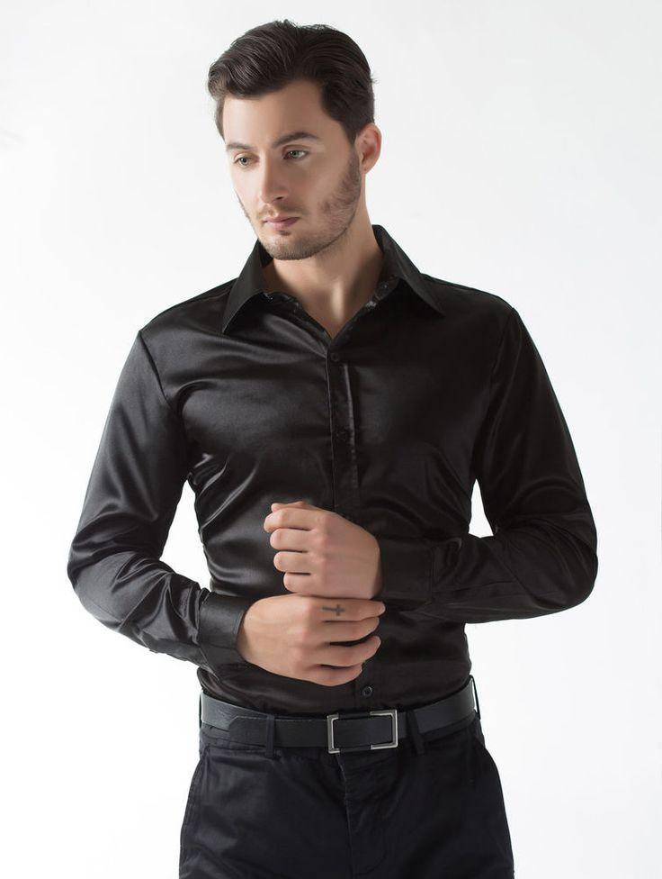 Camicia Uomo Seta-come Satin per tempo libero Partito Concerto formale Nuovo
