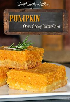 Pumpkin Ooey Gooey Butter Cake - It takes the buttery deliciousness of Ooey Gooey Cake to the next level !