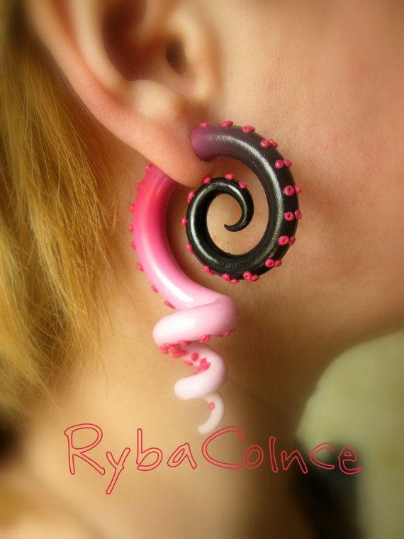 Fake ear tentacle gauge  Faux gauge/Gauge by RybaColnce on Etsy, $28.00