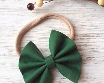 Baby Girl | Newborn | Toddler | Girls Hunter Green Bow Nylon Headband | Hair Clip | Boy Bow Tie | Pig Tail Bows