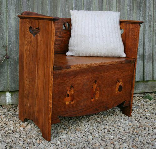 Perfect This Sweet Little Nursery Bench Dates To Around 1905 And Was Retailed By  Liberty And Co. Constructed In Beautiful Solid Golden Oak It Has Three  Inlaid ...