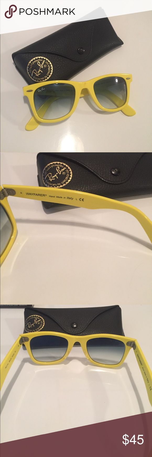 Authentic Ray Ban Wayfarer Sunglasses! Yellow Wayfarer sunglasses! Unisex for both men and women. A few imperfections, in good condition Ray-Ban Accessories Sunglasses