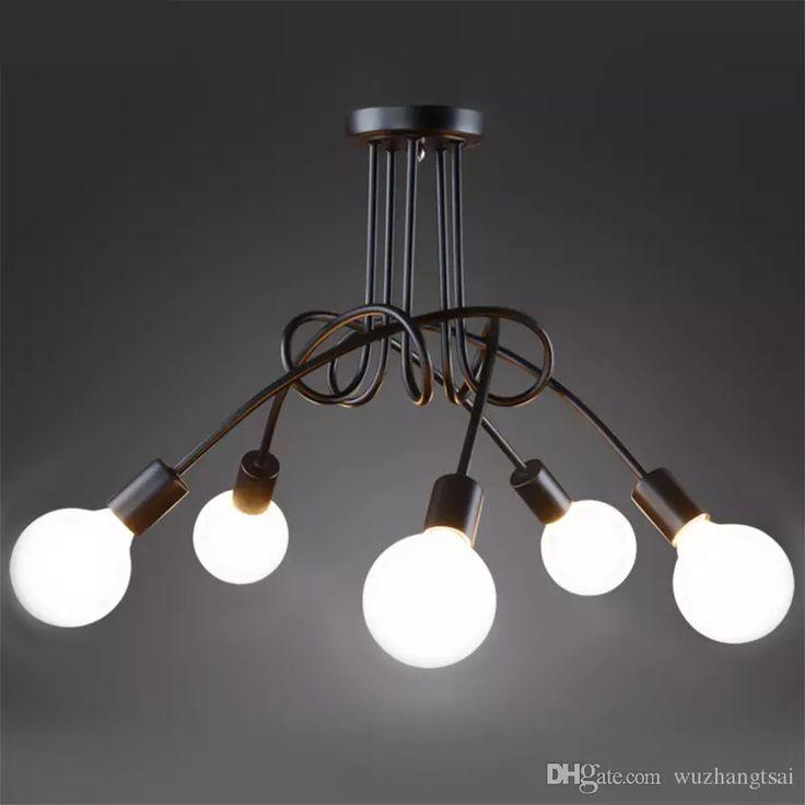 Creative Umsetzung 5 Köpfe Schwarz Weiß E27 Deckenleuchte Vintage  Pers5onlichkeit Modernen LED Deckenleuchte Schlafzimmer Pendelleuchte Licht