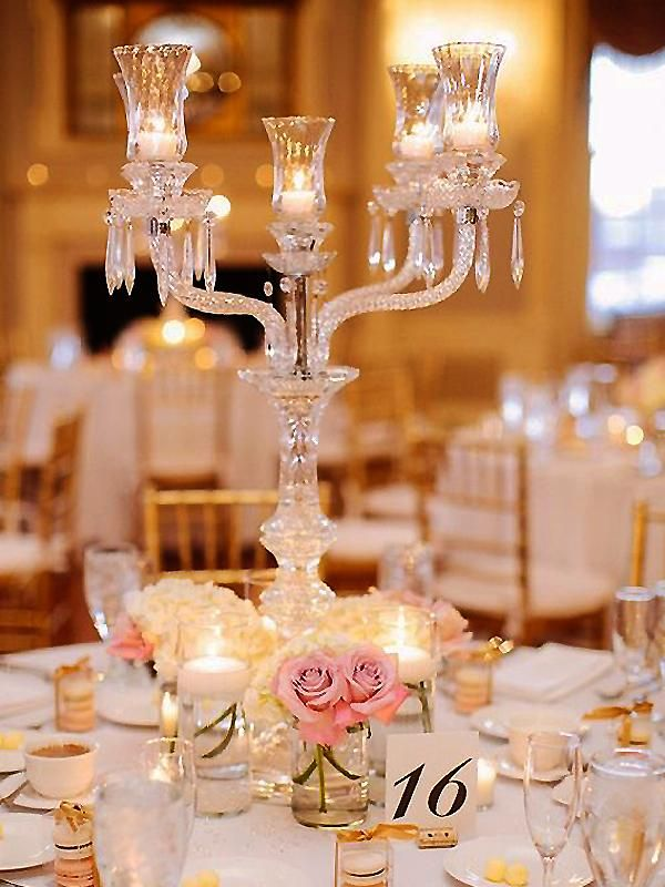 15 Tall Handcrafted 4 Arm Crystal Glass Tabletop Candelabra Vintage Taper Votive Candle Wedding Centerpieces Winter Wedding Centerpieces Reception Decorations