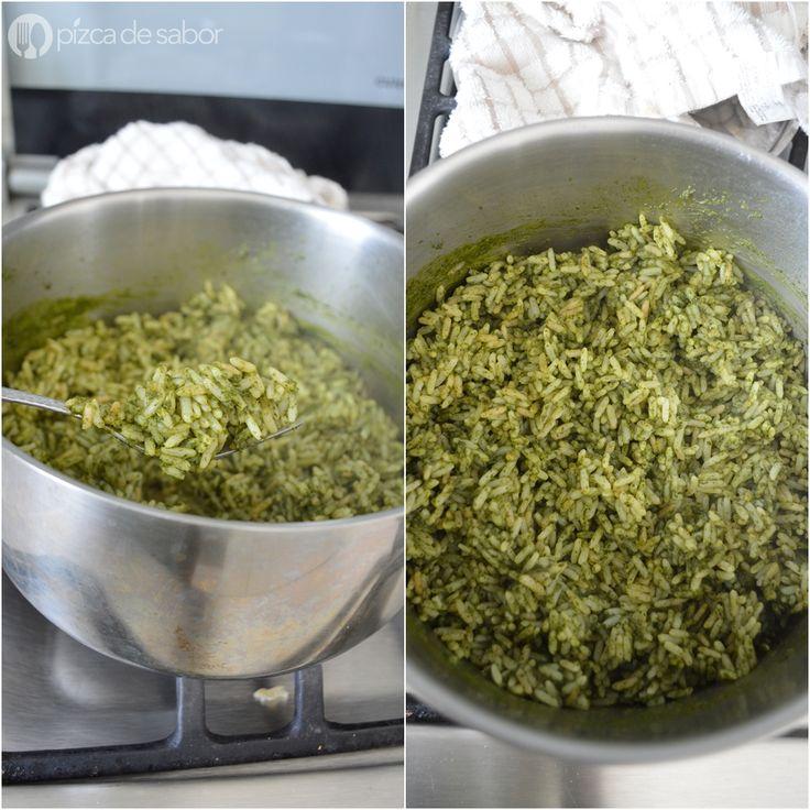 Cómo hacer arroz verde www.pizcadesabor.com