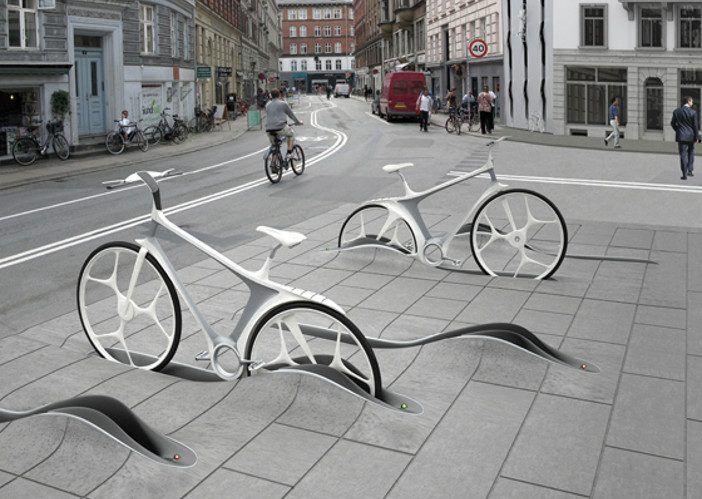 Modern bike racks in pavement!
