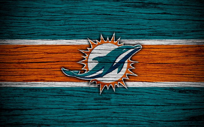Download wallpapers Miami Dolphins, NFL, American Conference, 4k, wooden texture, american football, logo, emblem, Miami, Florida, USA, National Football League