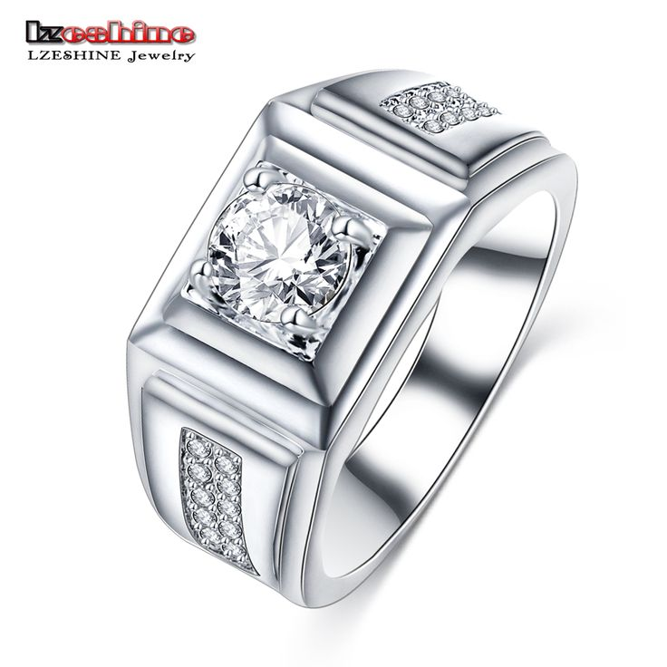 LZESHINE New Arrival Luxury Men Wedding Engagement Rings Wide Silver Plated Micro Pave Crystal Infinity Ring Brincos CRI0406-B