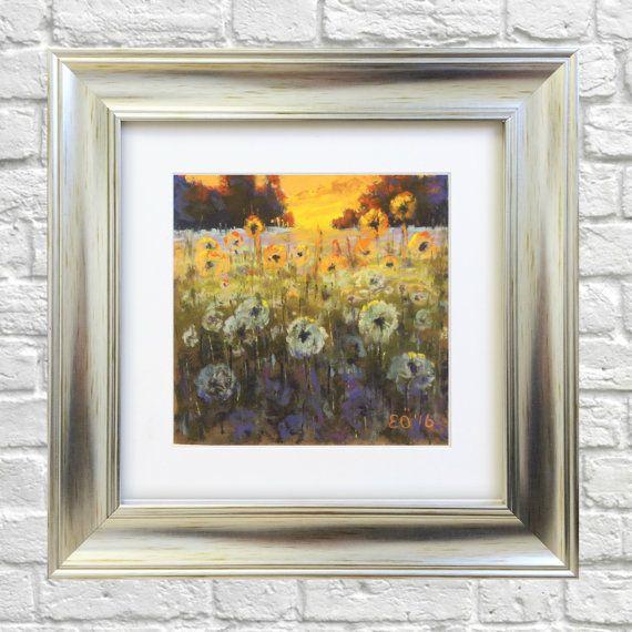 Original Pastel Painting Dandelions in Sunset by Bluishpurpletrees