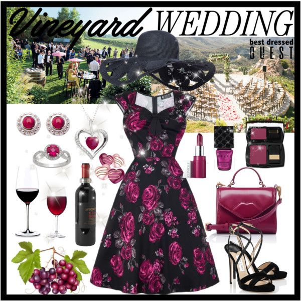 Vineyard Wedding Guest by giovanina-001 on Polyvore featuring Jimmy Choo, Lulu Guinness, Lancôme, Clinique, Gucci, Match, Riedel, napa, winerywedding and bestdressedguest
