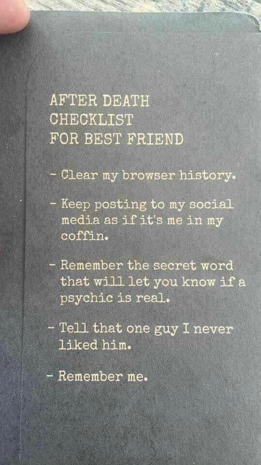 After death checklist