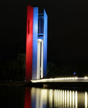 Australia's National Carillon in Canberra, lit up in support of France. 14th November 2015.